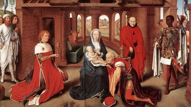 Hans Memling - Pokłon Trzech Królów (1470) - pierwszy w historii wizerunek, na którym jeden z mędrców jest czarnoskóry.